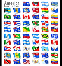 American waving flag set vector