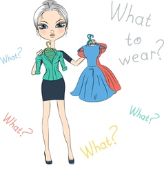 Beautiful serious fashion girl trying on dresses vector image