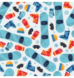 Sports seamless pattern with snowboard equipment vector