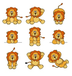 Cute lion set vector