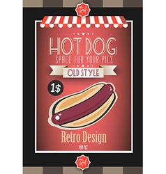 Vintage hot dog poster template for bistro vector