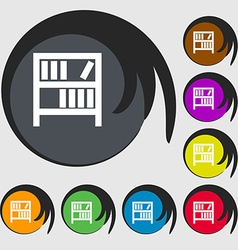Bookshelf icon sign symbols on eight colored vector