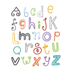 Abstract hand-drawn color doodle alphabet vector