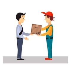 Delivery man gives package vector