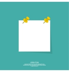 Blank paper note with push pin vector