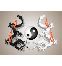 Chinese dragons yin and yang vector