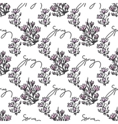 Seamless pattern with twig magnolia and lettering vector