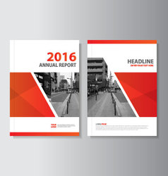Red annual report leaflet brochure flyer vector
