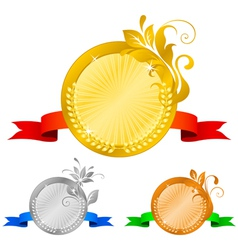 Medals set 5 floral decorations vector