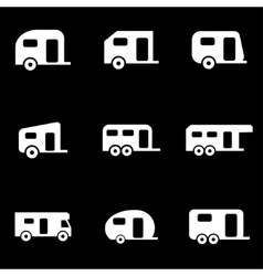 White trailer icon set vector