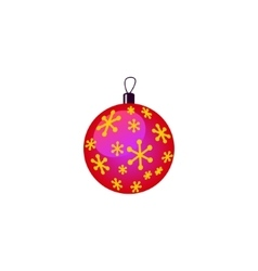 Christmas decorations pink purple ball with gold vector