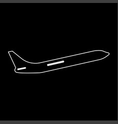Airplane white color path icon vector