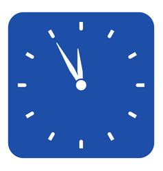 Blue white sign - last minute clock icon vector