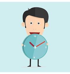 cartoon with clock in flat design vector image