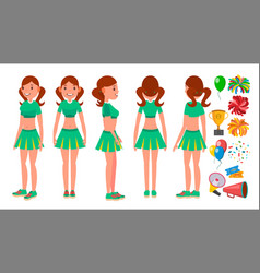 cheerleaders girls set different poses vector image