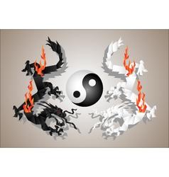 chinese dragons yin and yang vector image
