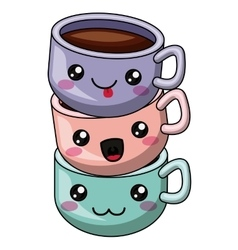 Coffee mug with kawaii face design vector image vector image