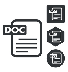 Doc document icon set monochrome vector