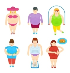 Fat woman funny cartoon characters set vector