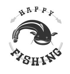 Fishing catfish vector