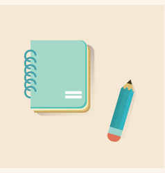 flat notebook and pencil on soft color background vector image vector image