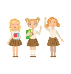 Girls in brown skirts happy schoolkids in similar vector