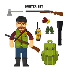 Hunting a set of hunter items flat vector