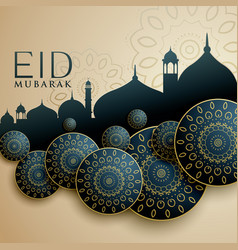 Islamic design for eid mubarak festival vector