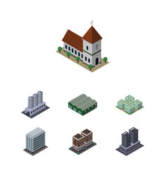 Isometric urban set of chapel tower clinic and vector