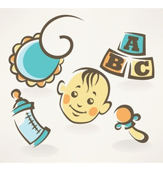 It is a boy baby shower design icons vector image