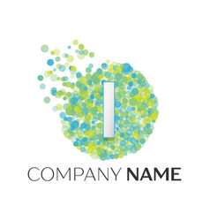 letter i logo blue green yellow particles vector image