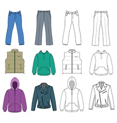 Man clothes colored autumn collection vector