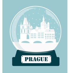 Prague christmas glass ball vector