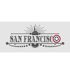 San Francisco city name with flag colors vector image vector image