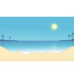Scenery beach flat silhouettes vector