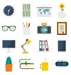Set flat cartoon office and house items vector