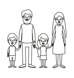 Silhouette caricature family with parents and vector