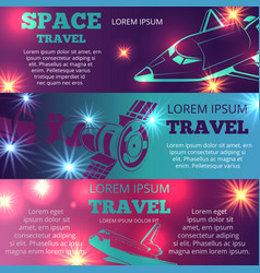 Space travel banners template with shuttle vector