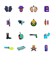 Spy comics icons set cartoon vector