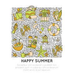 summer and beach hand draw icon concept travel vector image