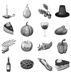 Thanksgiving icons set gray monochrome style vector
