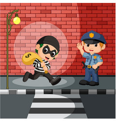 thief and police cartoon vector image