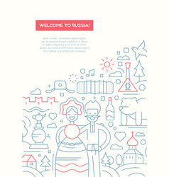 Welcome to russia - line design brochure poster vector