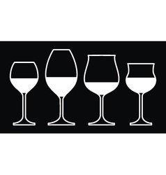 Wine Glasses On a Black Background vector image vector image