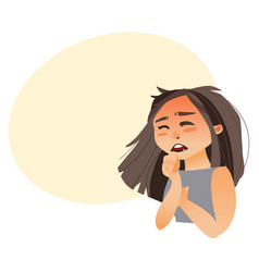Woman coughing covering mouth with her hand vector