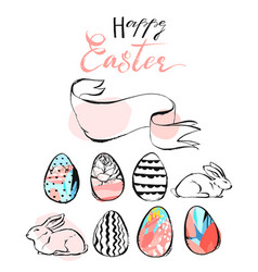 hand drawn abstract happy easter vector image