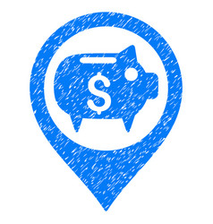 Bank map marker grunge icon vector