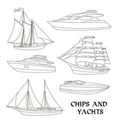 Ships and yachts set vector