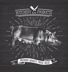 Butcher shop vintage emblem pork meat products vector