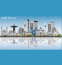 South america skyline with famous landmarks and vector